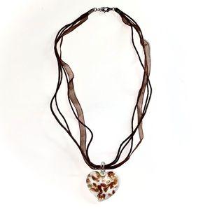 Maruno Glass Heart Pendant Necklace